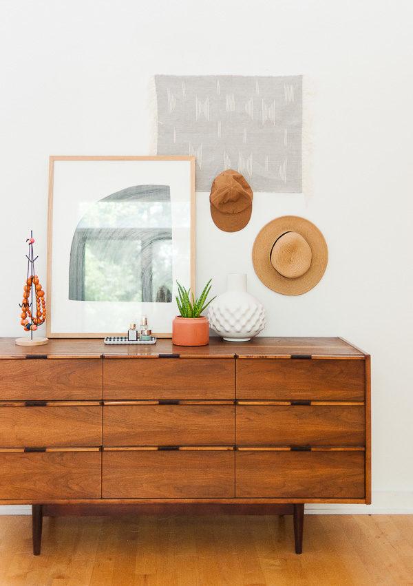 Vintage teak dresser in the bedroom