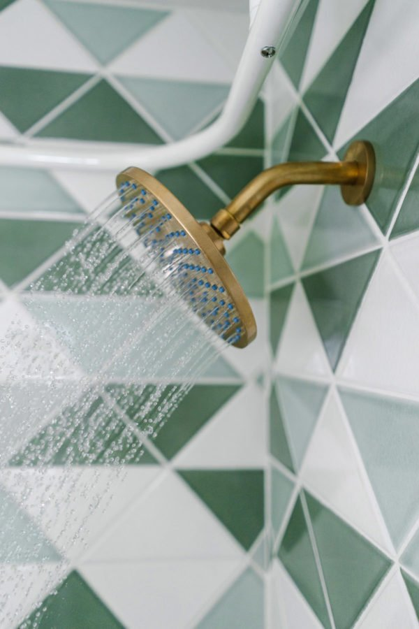 Love this geo tile in the shower.