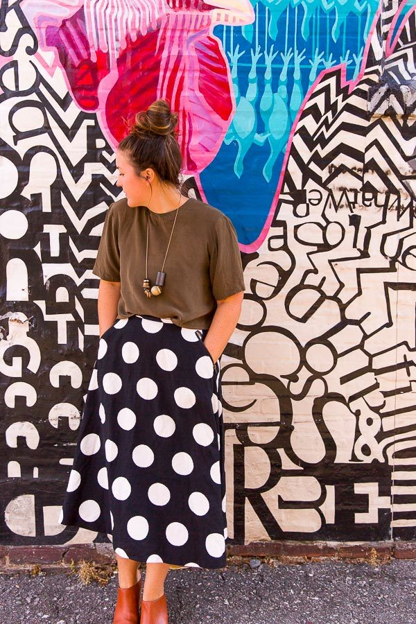 When your skirt matches the mural you're standing in front of.