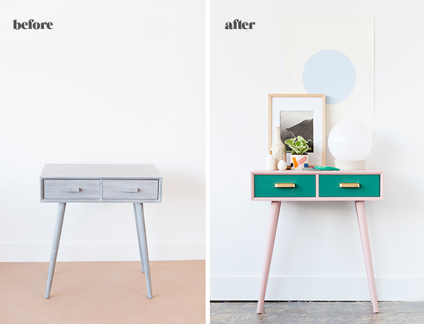 Before and after entryway table makeover for fall
