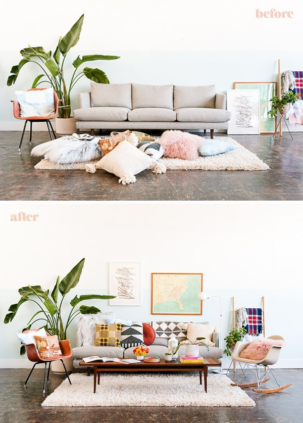 Before and after sofa styling