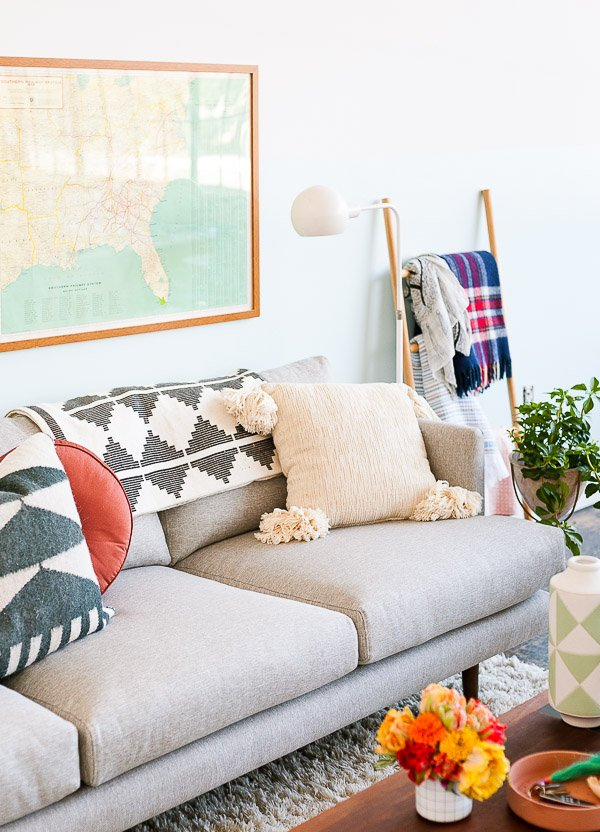 How to style a sofa for fall