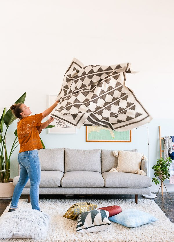 How to style a sofa for fall. Tip #1: Add textiles.