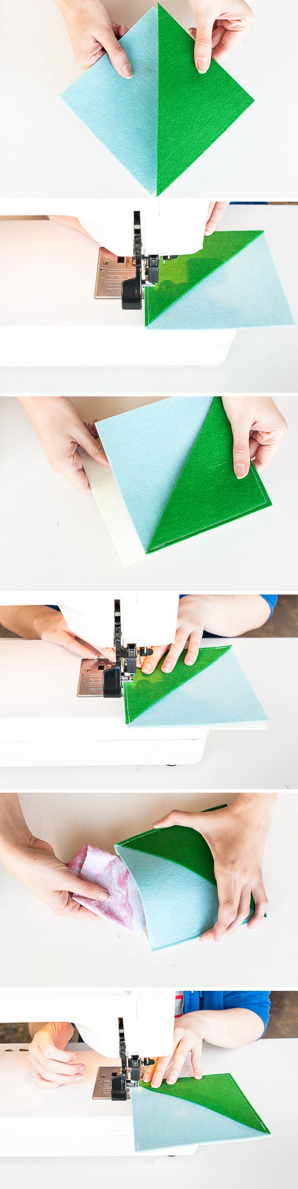 How to Make Color Blocked Sewn Felt Pouches for Presents