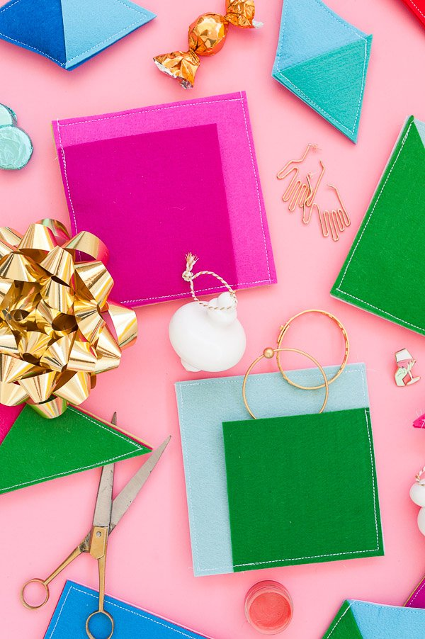 Color Blocked Gift Wrap: Sewn Felt DIY Pouches for Holiday Presents