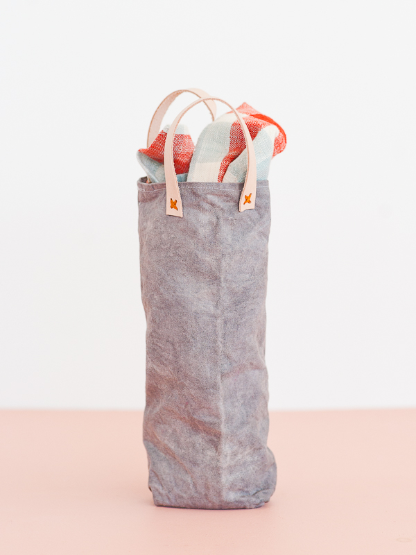 Sewn DIY Wine Tote with Leather Handles