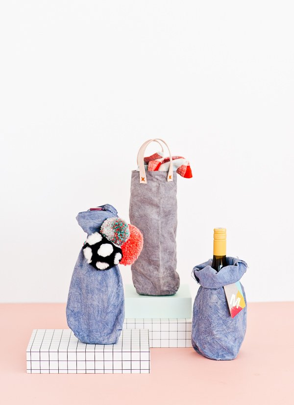 DIY Sewn Canvas Wine Bags 3 Ways