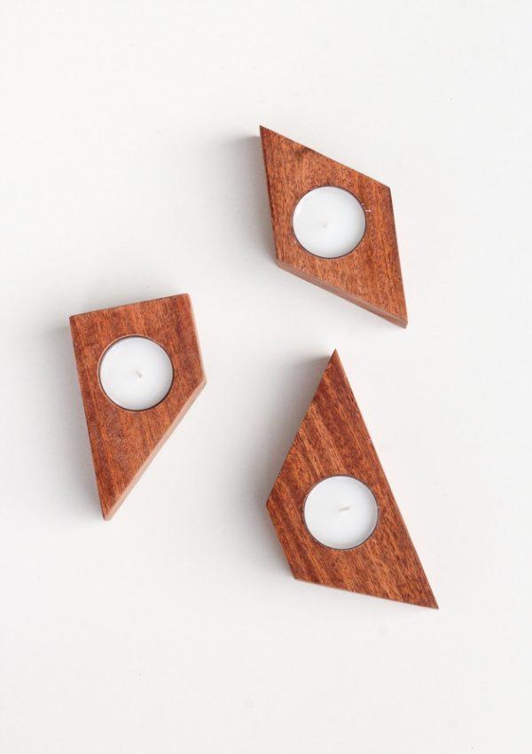 Geometric Wood Candles DIY