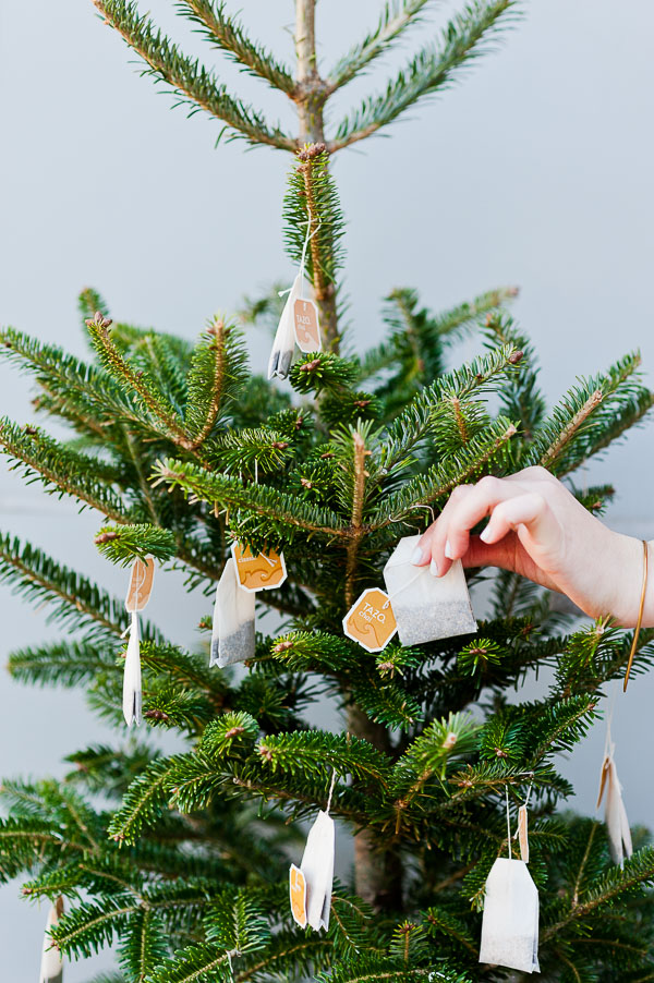 Decorate a mini Christmas tree with tea bags for guest to grab and go for keeping warm at an outdoor winter party
