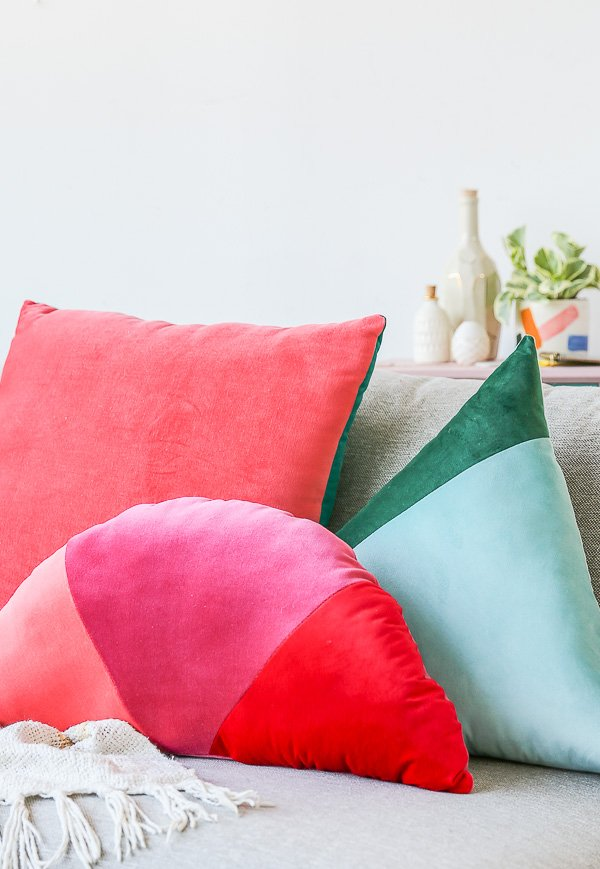 How to Make Velvet, Geometric Color Blocked Pillows