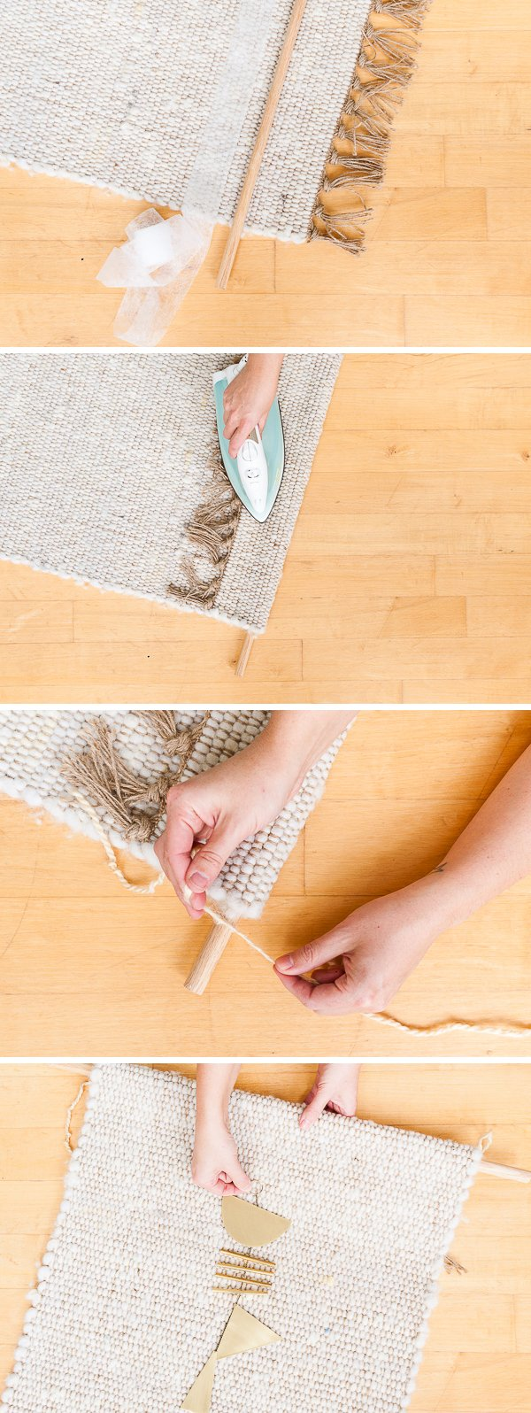 5 Minute DIY // Turn a 2x3 rRug into a Hanging Weaving