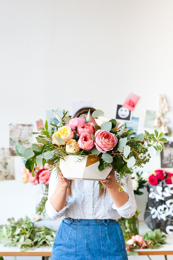 Floral centerpiece inspiration with garden roses and eucalyptus