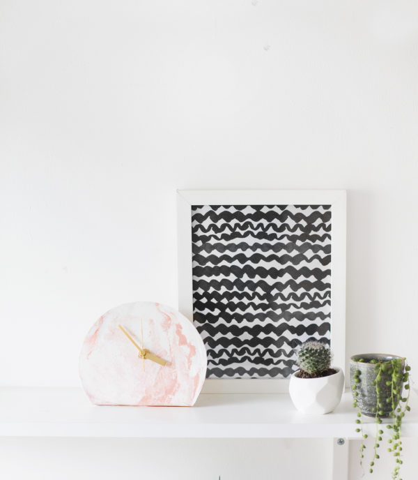 marbled clay standing clock DIY from The Lovely Drawer (and 40+ other DIY holiday gift ideas that don't suck)