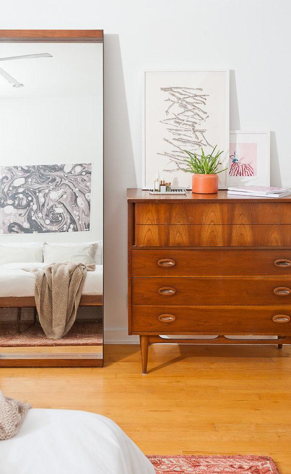 Vintage dresser in the bedroom