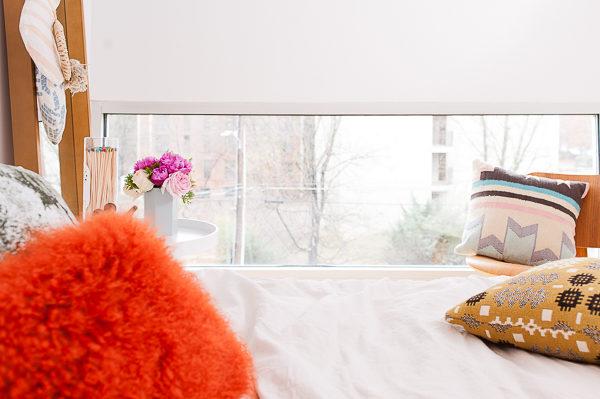 Picture window in guest bedroom