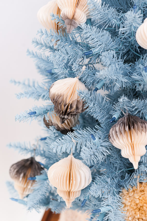 Pastel blue Christmas tree and dip dyed DIY ornaments
