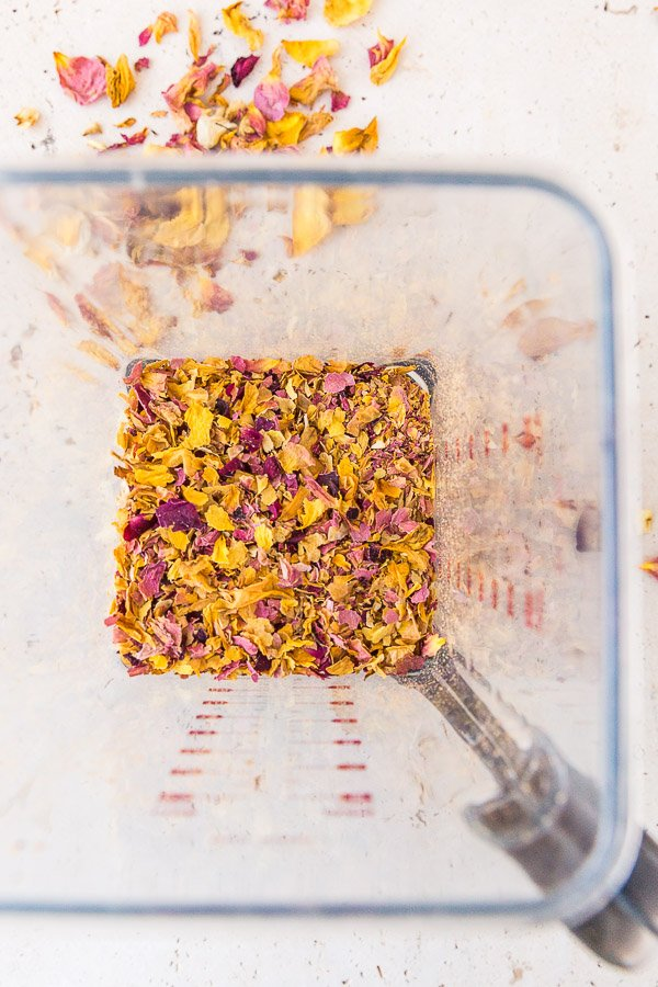 Dried rose petals, blended up to make flower confetti.