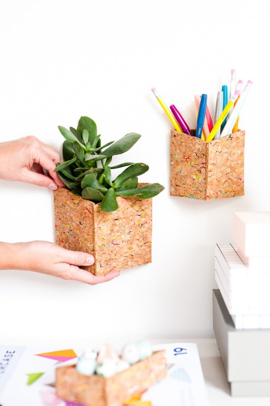 Cork wall organizers for a small office space