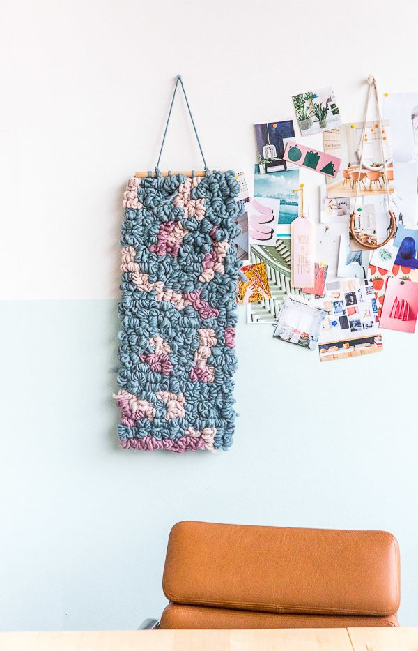 DIY wall art weaving hack. How to make a weaving without any special tools, in half the time.
