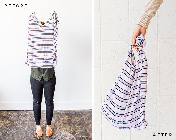 How to make upcycled grocery totes with old t-shirts