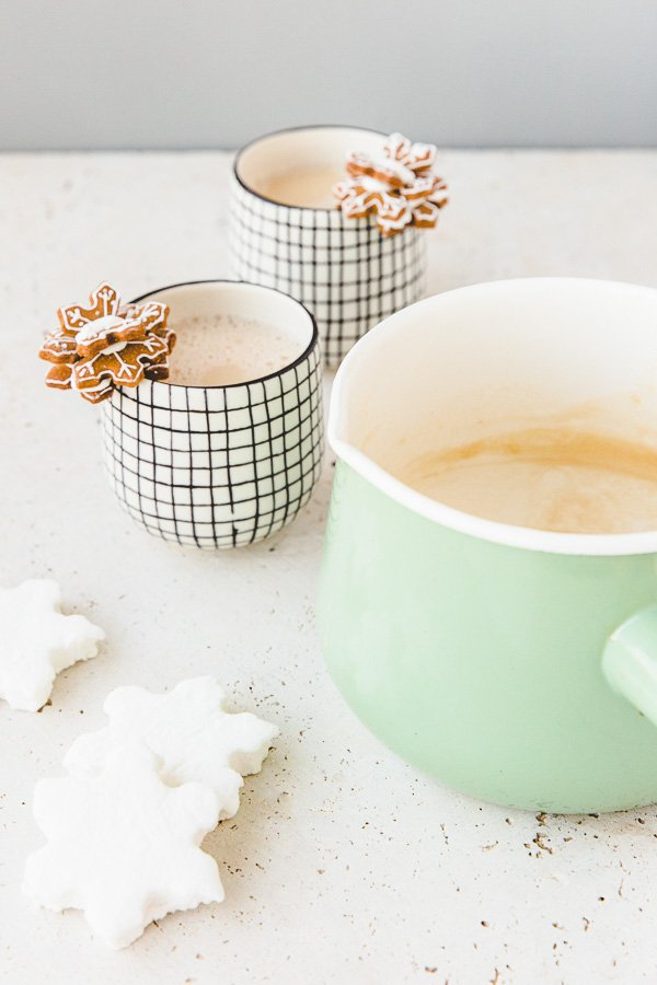 Homemade white hot chocolate with chai
