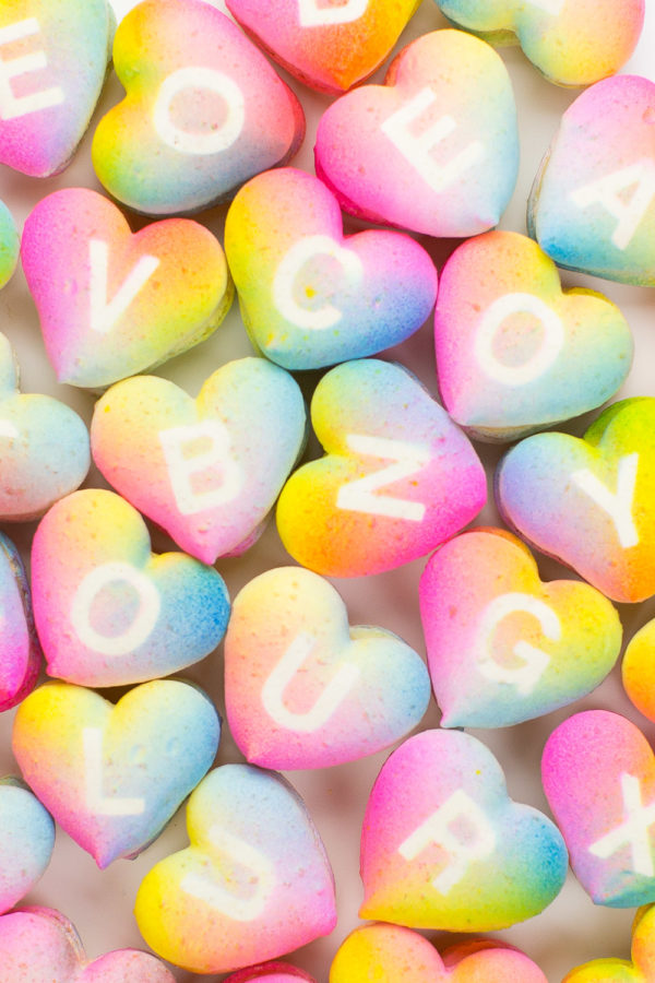 These rainbow gradient conversation heart macarons are almost too good to be true.