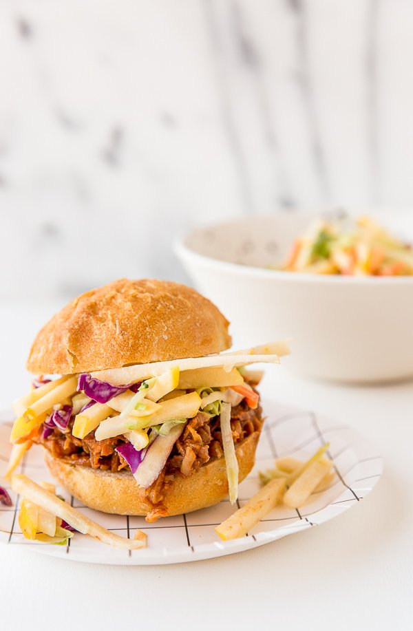 Recipe for BBQ chicken sliders with crispy, sweet apple coleslaw