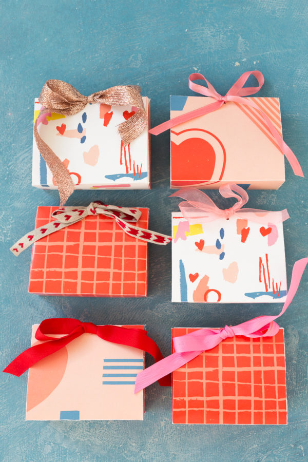 Printable candy boxes in colorful patterns for Valentine's Day