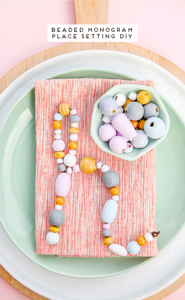 This unique place setting DIY uses wooden beads and a little bit of wire.
