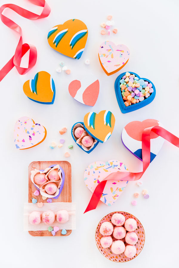 Homemade cereal truffles and colorful DIY candy boxes for Valentine's Day