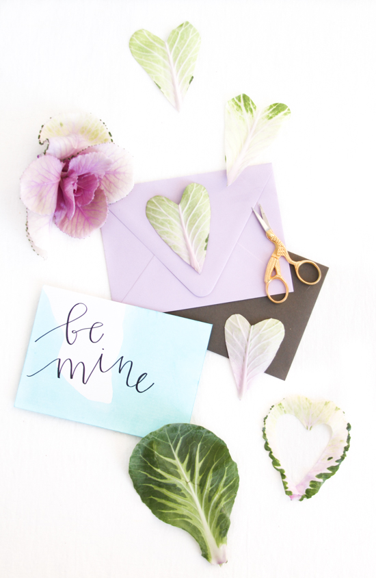 Heart cut outs and dip dyed hand lettered cards for Valentine's Day never go out of style.