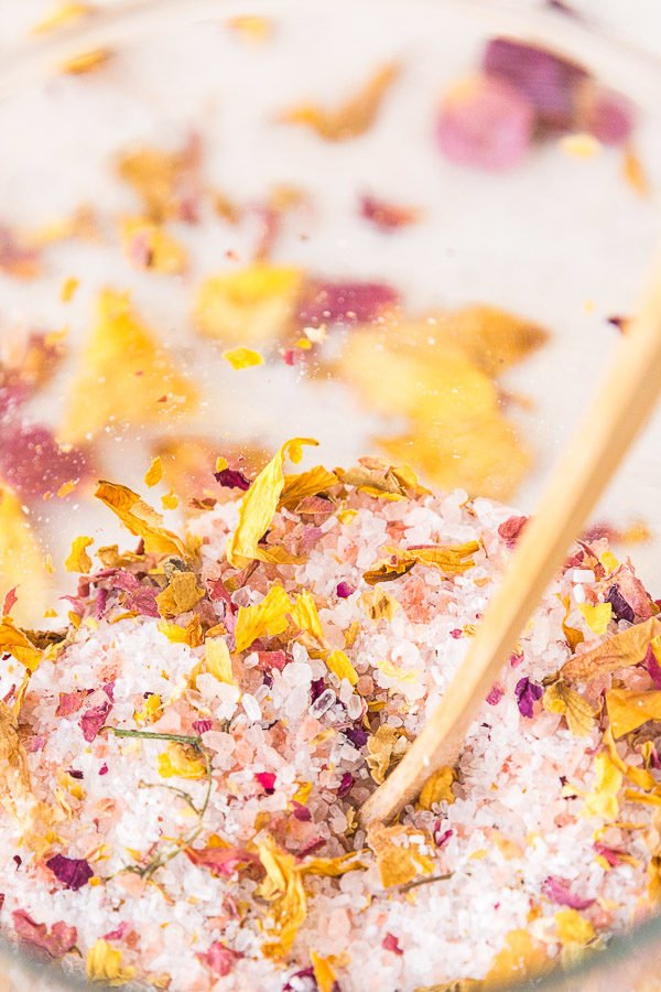 Here's a tutorial for DIY bath salts made with dried flowers and himalayan sea salt.