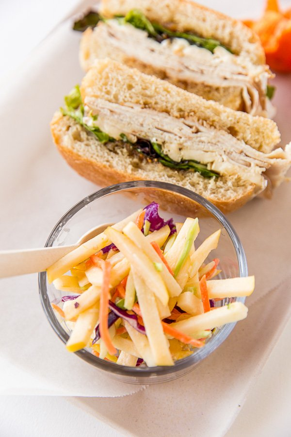 This sweet and crunchy apple coleslaw recipe would be a great snack for kids lunches or a side dish at dinner.