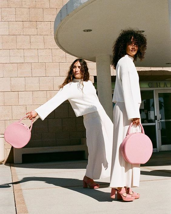 Blush leather circle bag from Mansur Gavriel
