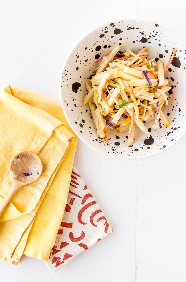 A sweet and crunchy apple coleslaw recipe, for lunches and side dish dinners.