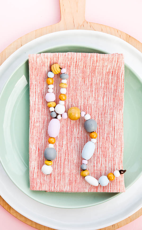 Unique Place Setting DIY Using Wooden Beads