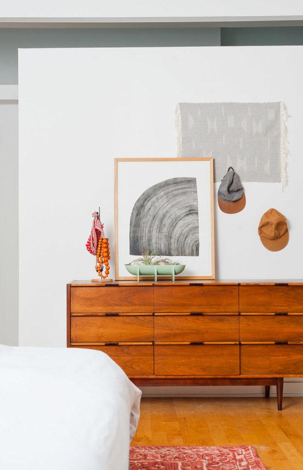 Vintage dresser in mid-century meets minimal master bedroom