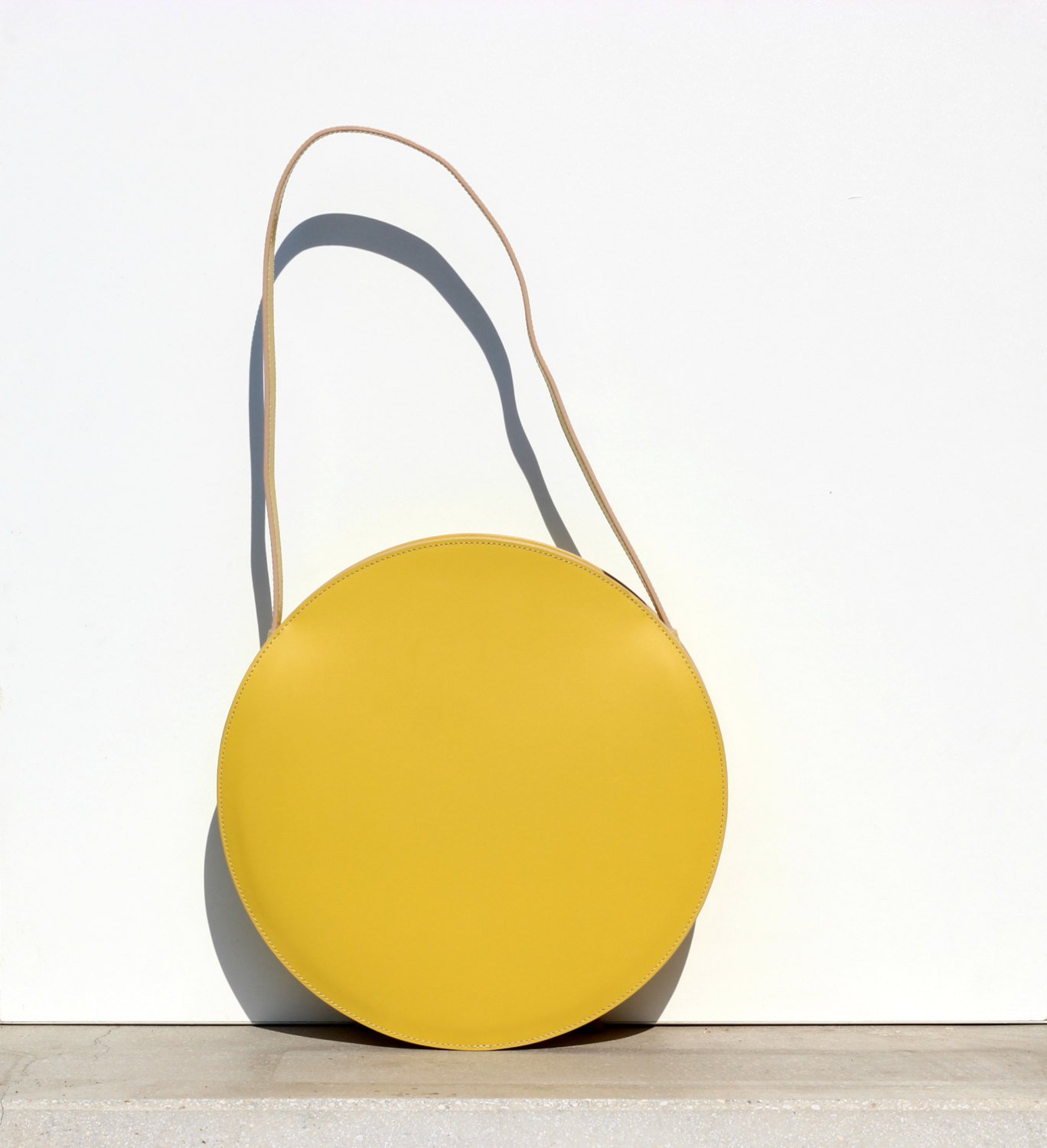Love This Yellow Leather Circle From Bogabag On Etsy