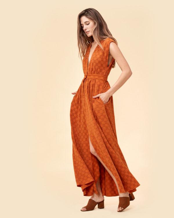 burnt orange checker dress for spring