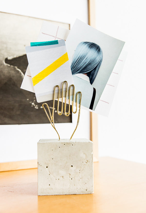 How to make a modern DIY desk accessory with concrete.