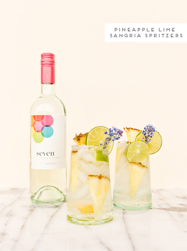 Pineapple lime sangria spritzers