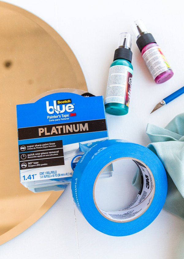 Materials needed to make a mirror colorful: supplies for color blocked mirror DIY