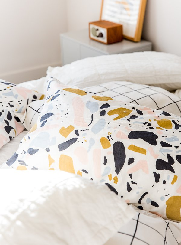 DIY pillowcases, using literally any fabric (including yardage from a fabric shower curtain)