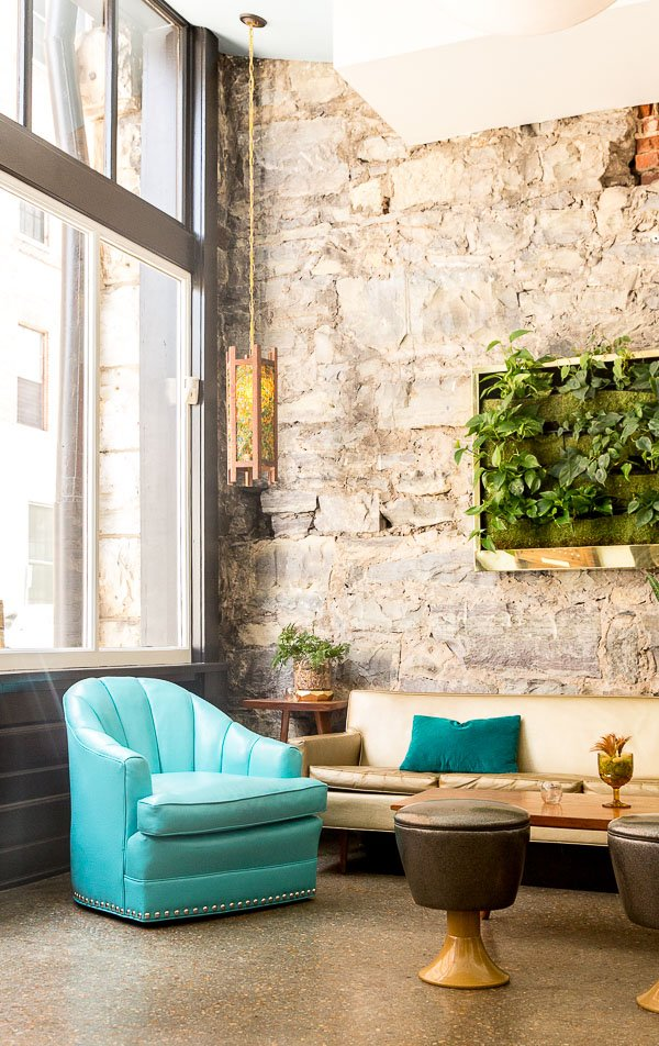 Mid-century inspired interior at The Dwell Hotel