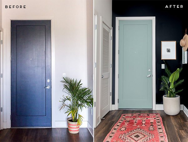 A minimal modern entryway makeover. Click through for all of the reveal photos.