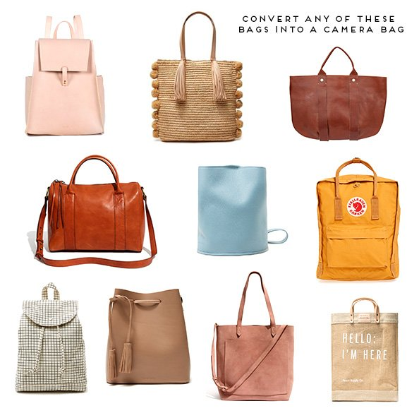 Covert any of these handbags or backpacks into a protective camera bag.