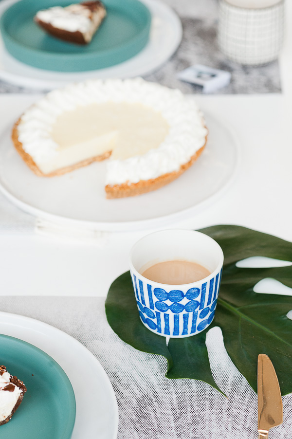 A coffee and pie Father's Day brunch. Click through to get this look at home, along with DIY Father's Day entertaining ideas.