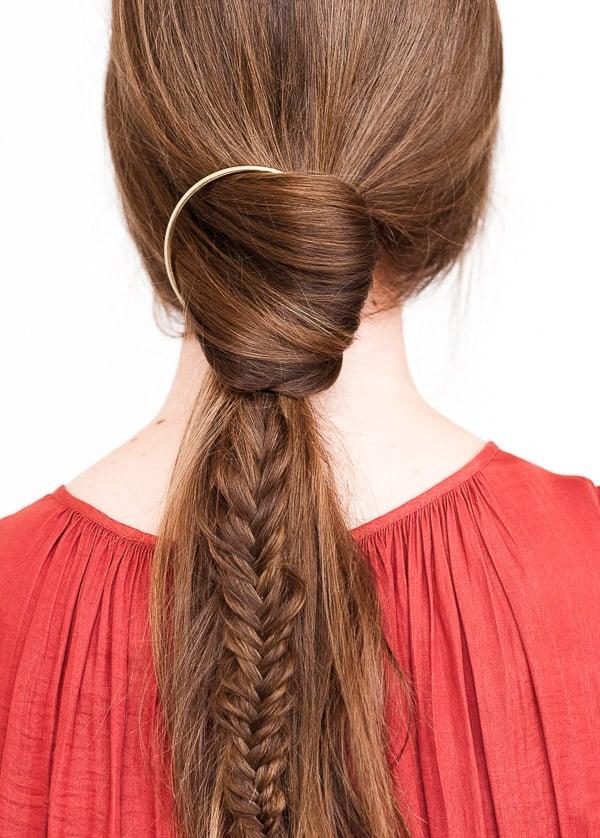 DIY Hair Tutorial: A Fishtail Pony Braid with Gold Hoop Hair Accessory