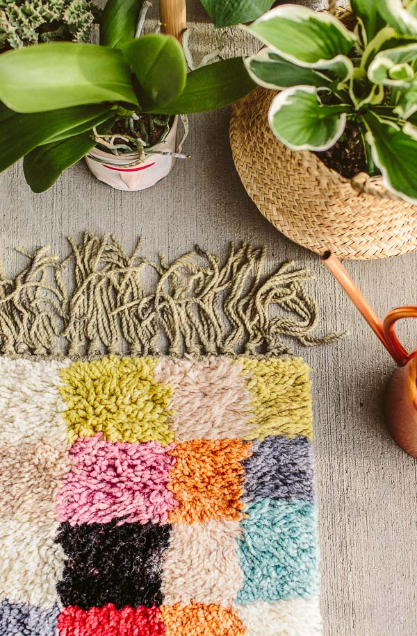 Colorful rug for an outdoor space