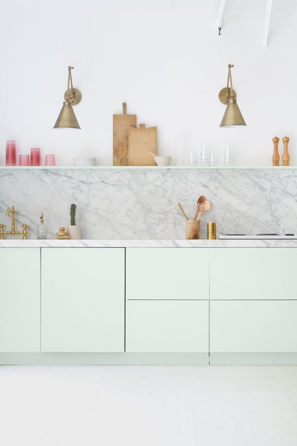 A minty fresh kitchen.